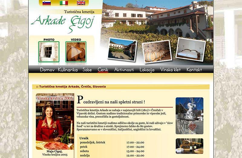 Prejšnja spletna stran Turistične kmetije Arkade